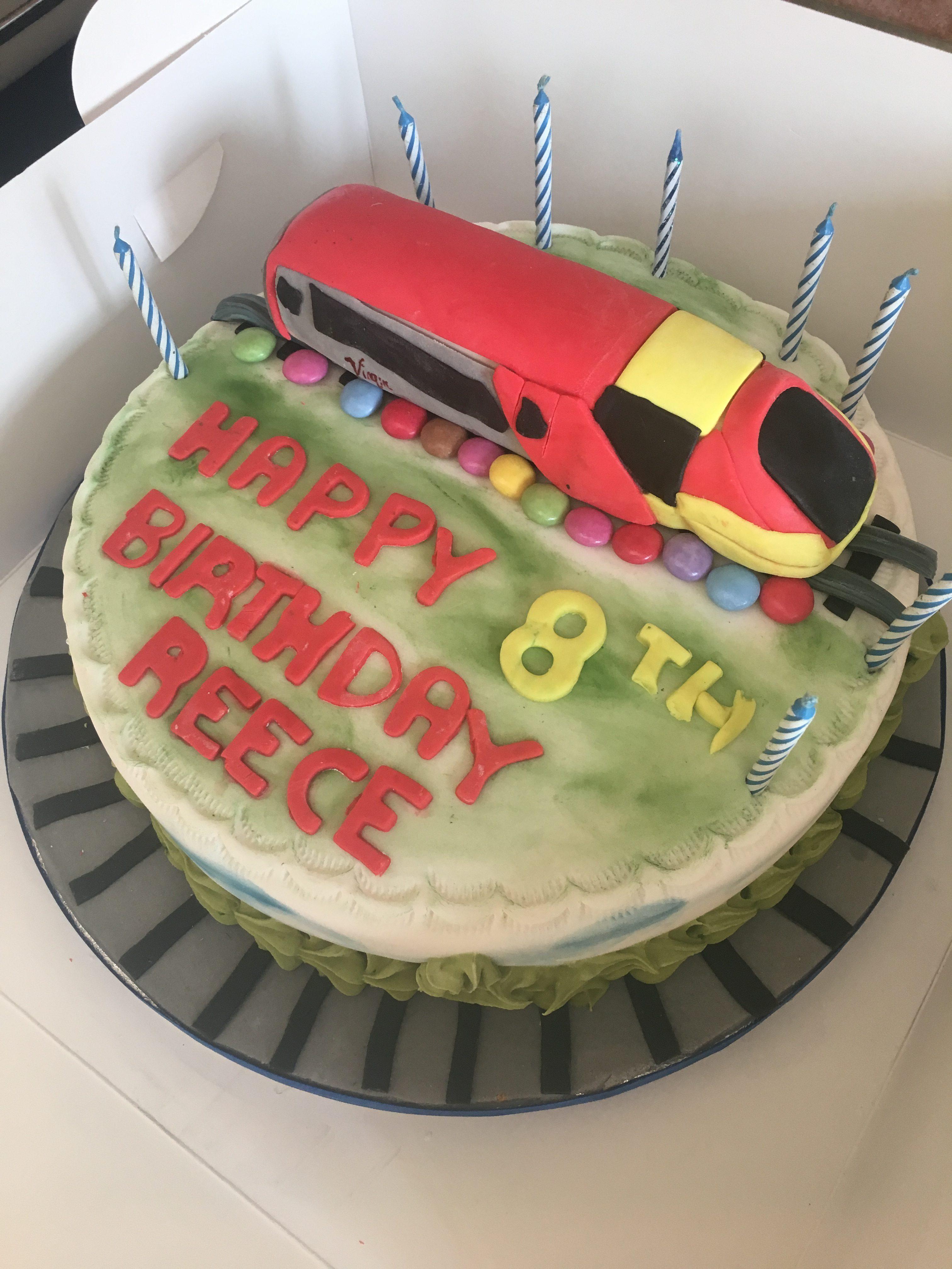 Birthday Virgin train cake